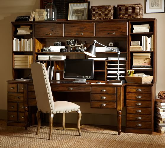 Printer 39 s large hutch with doors pottery barn - Pottery barn office desk ...