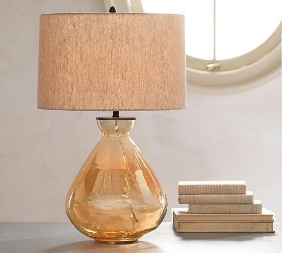alana luster glass table lamp base amber pottery barn. Black Bedroom Furniture Sets. Home Design Ideas