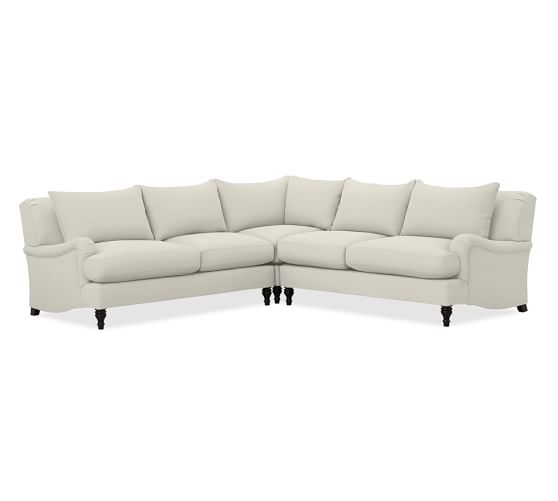 carlisle upholstered 3 piece l shaped sectional with corner pottery barn. Black Bedroom Furniture Sets. Home Design Ideas