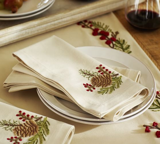 Pinecone & Berry Embroidered Napkin, Set of 4
