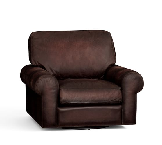 Turner Roll Arm Leather Swivel Armchair Pottery Barn