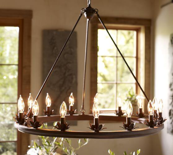Foyer Lighting Pottery Barn : Stanton leaf cup indoor outdoor chandelier pottery barn
