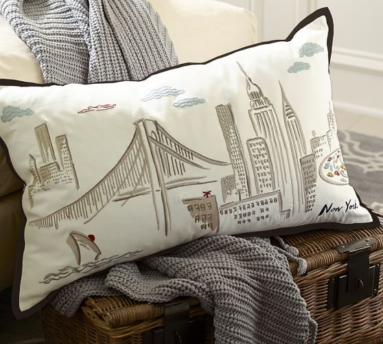 New York City Embroidered Lumbar Pillow Cover