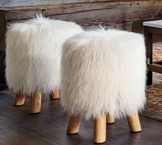 Faux Fur Stool Pottery Barn