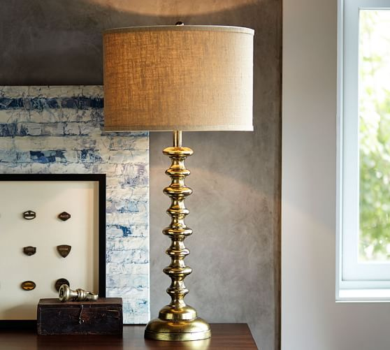 spool brass table lamp base pottery barn. Black Bedroom Furniture Sets. Home Design Ideas