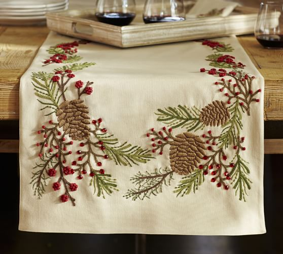 Pinecone Amp Berry Embroidered Table Runner Pottery Barn