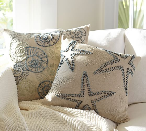 Embroidered Throw Pillows Pottery Barn : Knotted Ocean Embroidered Pillow Covers Pottery Barn