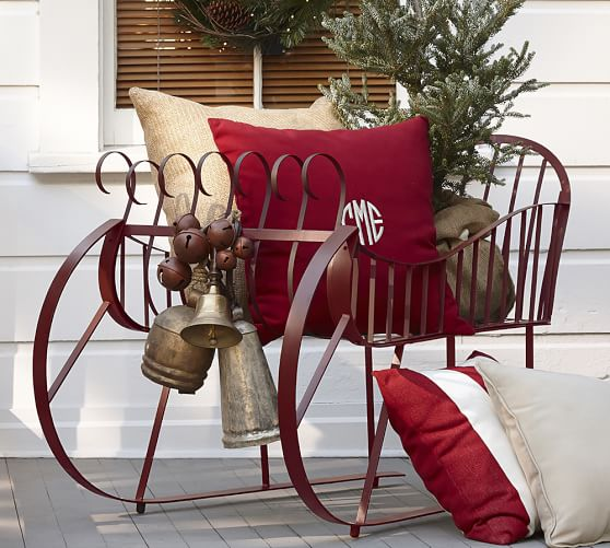 red metal sleigh pottery barn. Black Bedroom Furniture Sets. Home Design Ideas