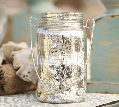 hanging mercury glass mason jar pottery barn. Black Bedroom Furniture Sets. Home Design Ideas