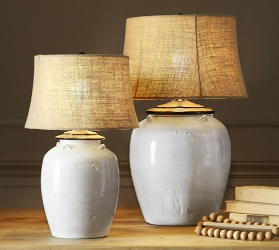 Courtney Ceramic Table Lamp Base Ivory Pottery Barn
