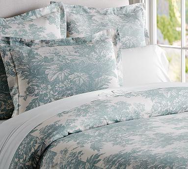 Matine Toile Duvet Cover Amp Sham Dark Porcelain Blue