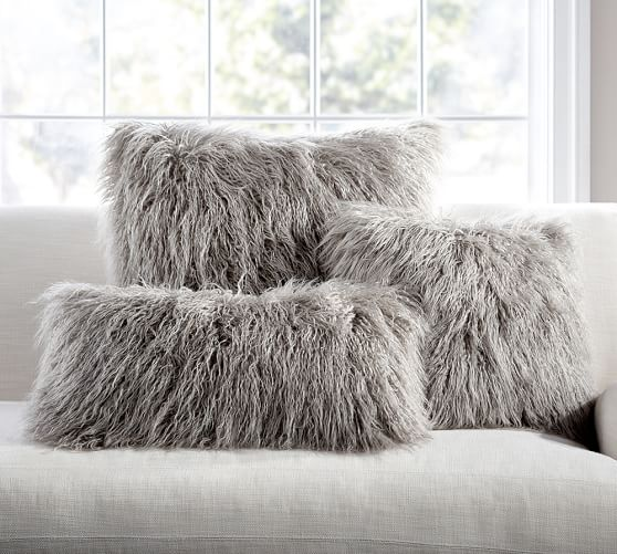 Mongolian Faux Fur Pillow Cover Frost Gray Pottery Barn