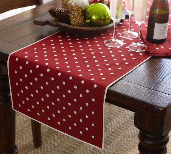 Polka Dot Embroidered Table Runner