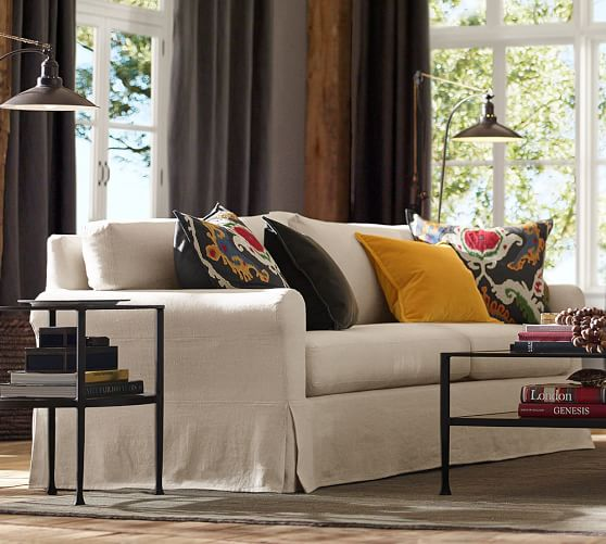 York Roll Arm Slipcovered Sofa