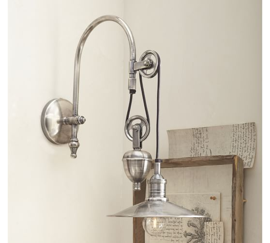 Packard pulley single sconce pottery barn for One light bathroom wall sconce