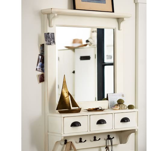 Wall Mount Entryway Organizer Mirror Almond White