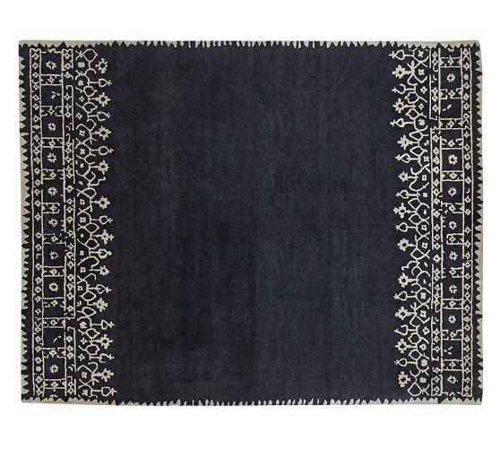 Desa Bordered Wool Rug - Indigo Blue