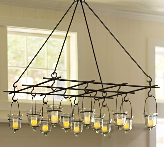 Hanging grid votive holder pottery barn for Hanging votive candles