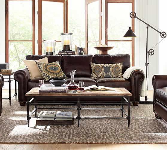webster leather sofa pottery barn