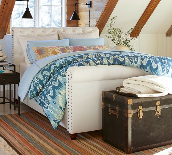 Chesterfield bed with footboard pottery barn Bedroom furniture chesterfield
