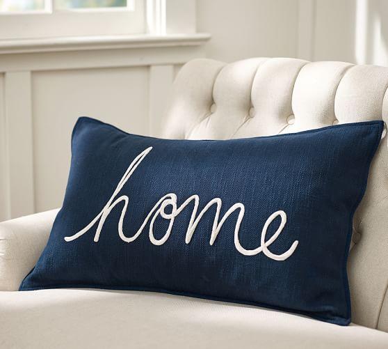 Home Sentiment Lumbar Pillow Cover Pottery Barn