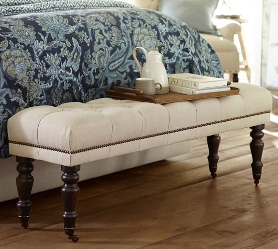 Raleigh Tufted Bench With Turned Legs Pottery Barn