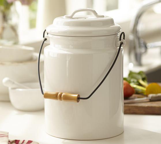 Rhodes compost bin pottery barn for Ceramic bathroom bin