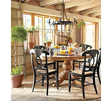 sumner extending pedestal table napoleon chair 5 piece dining set pottery barn. Black Bedroom Furniture Sets. Home Design Ideas