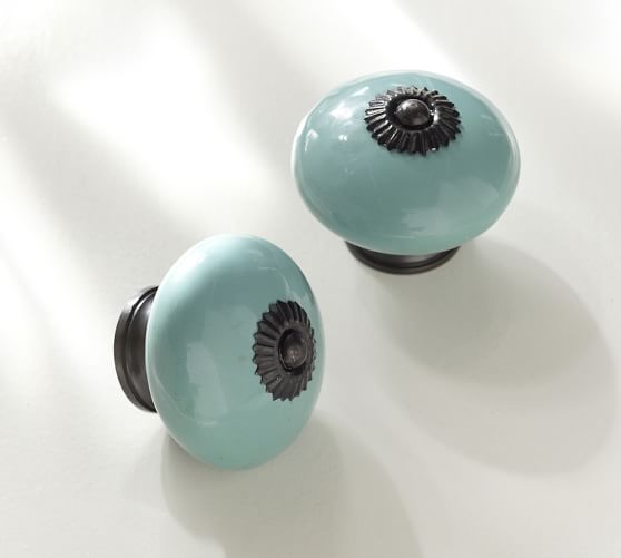 Turquoise ceramic knob pottery barn for Turquoise door knobs