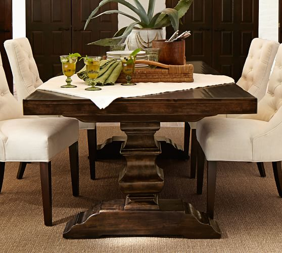 benchwright extending rectangular dining table alfresco brown finish 2