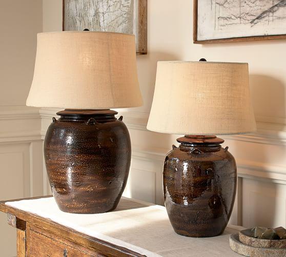 Courtney Ceramic Table Lamp Base - Espresso