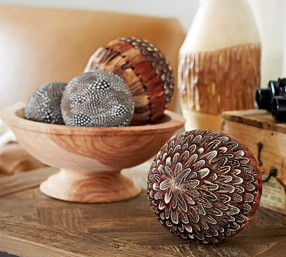 Feathered spheres vase filler pottery barn