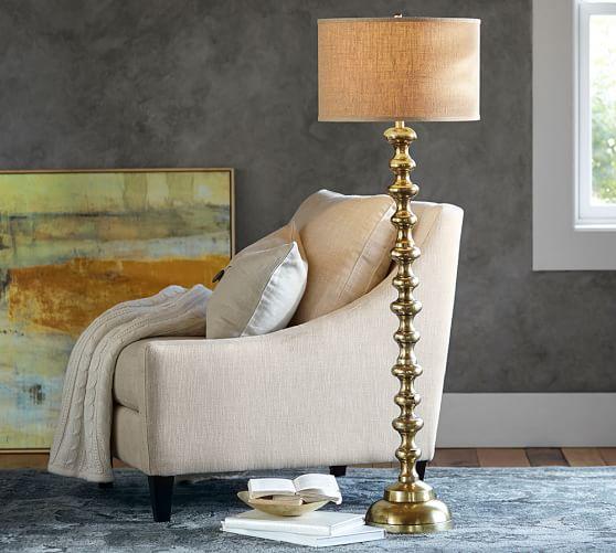 Spool Brass Floor Lamp Base