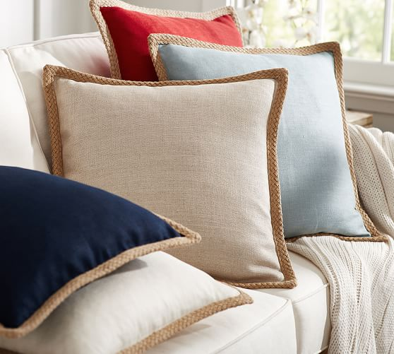 Pottery Barn Decorative Pillow Covers : Jute Braid Pillow Cover Pottery Barn