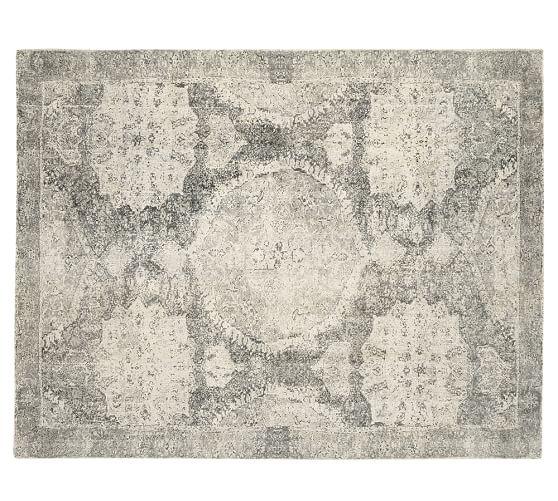 Barret Printed Wool Rug Gray Pottery Barn