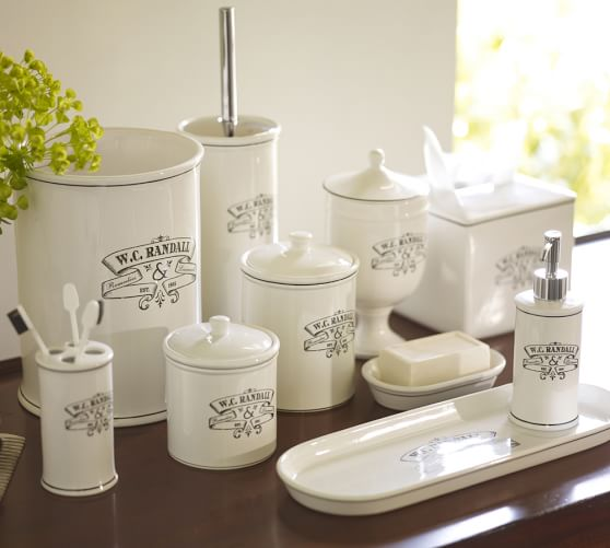 Black white apothecary bath accessories pottery barn for Black and cream bathroom accessories