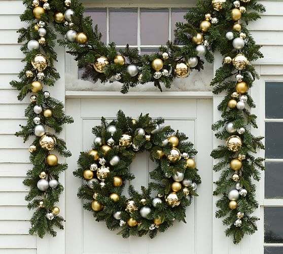 Outdoor ornament pine garland gold silver pottery barn for Outside house ornaments