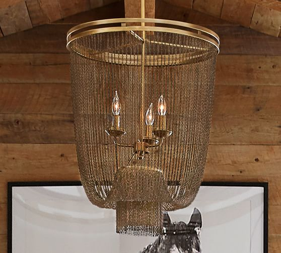 Pottery Barn Simone Vintage Chandelier: Atherton Chainmail Chandelier