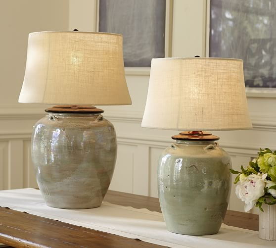Ceramic Table Lamps : Courtney ceramic table lamp base blue pottery barn
