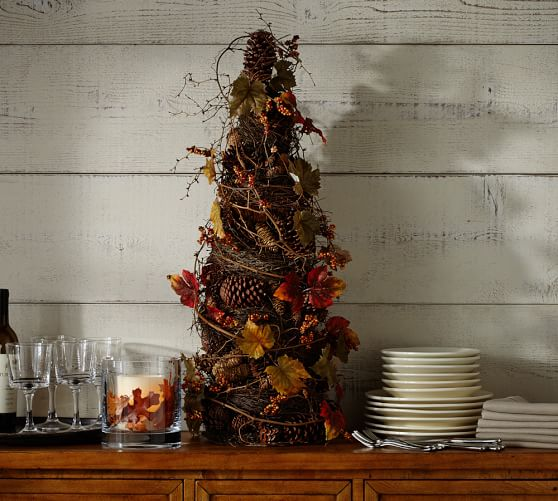 Faux pomegranate pinecone topiary pottery barn for Artificial pomegranate decoration