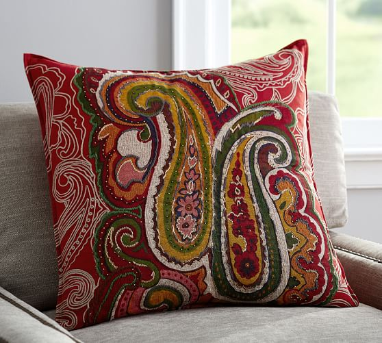 Pottery Barn Decorative Pillow Covers : Sullivan Paisley Ikat Pillow Cover Pottery Barn