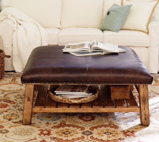 pottery barn leather coffee table 2