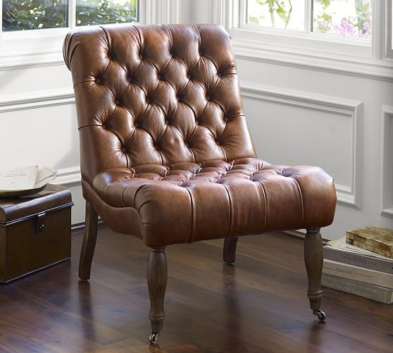 Tufted Leather Sofa And Chair: Carolyn Tufted Leather Chair