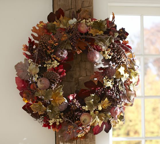Harvest pomegranate pinecone wreath garland pottery barn for Artificial pomegranate decoration