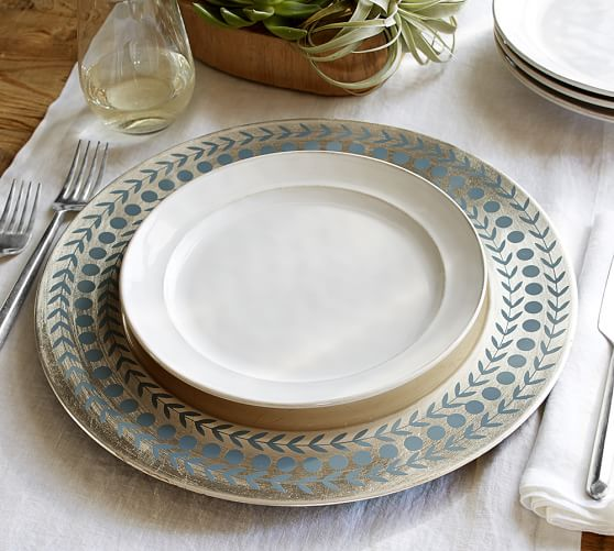 Pottery Barn Furniture Return Policy: Patterned Silver Charger