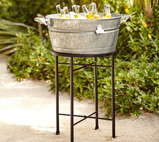 galvanized metal large party bucket stand pottery barn. Black Bedroom Furniture Sets. Home Design Ideas