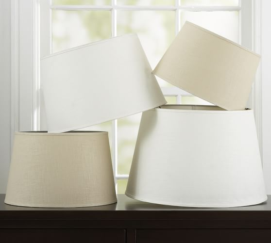linen tapered drum lamp shade pottery barn. Black Bedroom Furniture Sets. Home Design Ideas