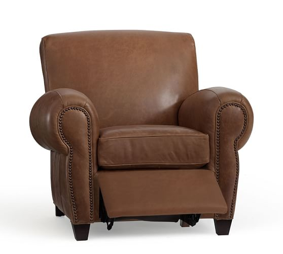 Manhattan Leather Recliner With Nailheads Pottery Barn