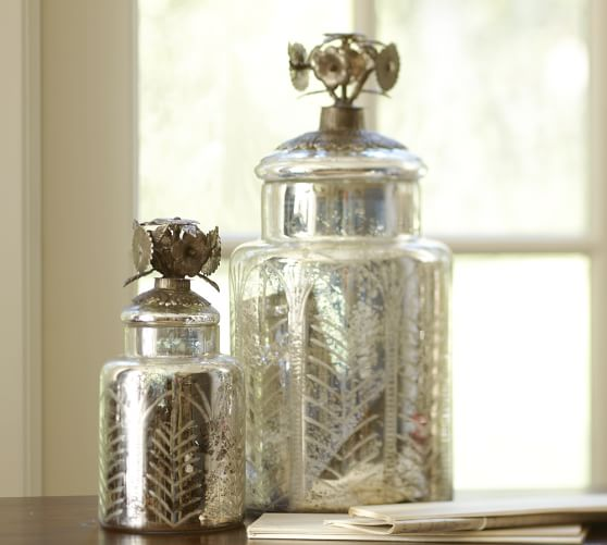 etched antique mercury glass canister pottery barn