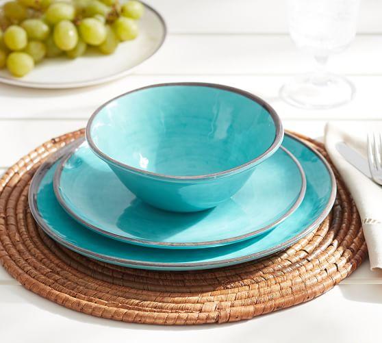 Markdowns Office Furniture Swirl Melamine Dinnerware - Turquoise | Pottery Barn